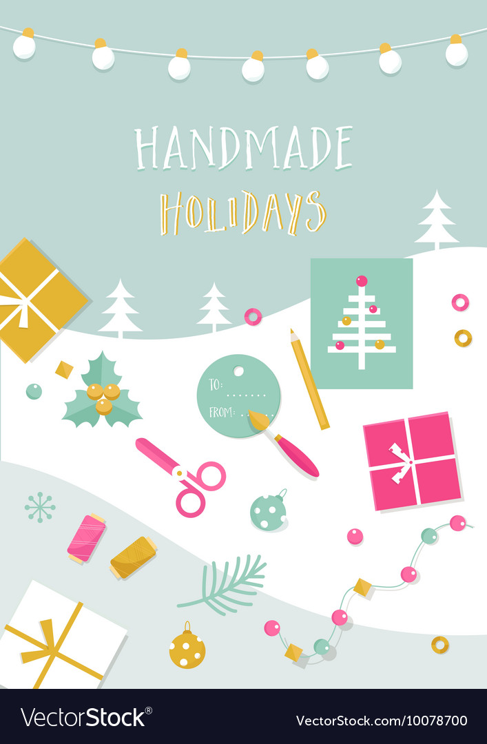 Handmade Holidays Card Tools Crafts and vector image