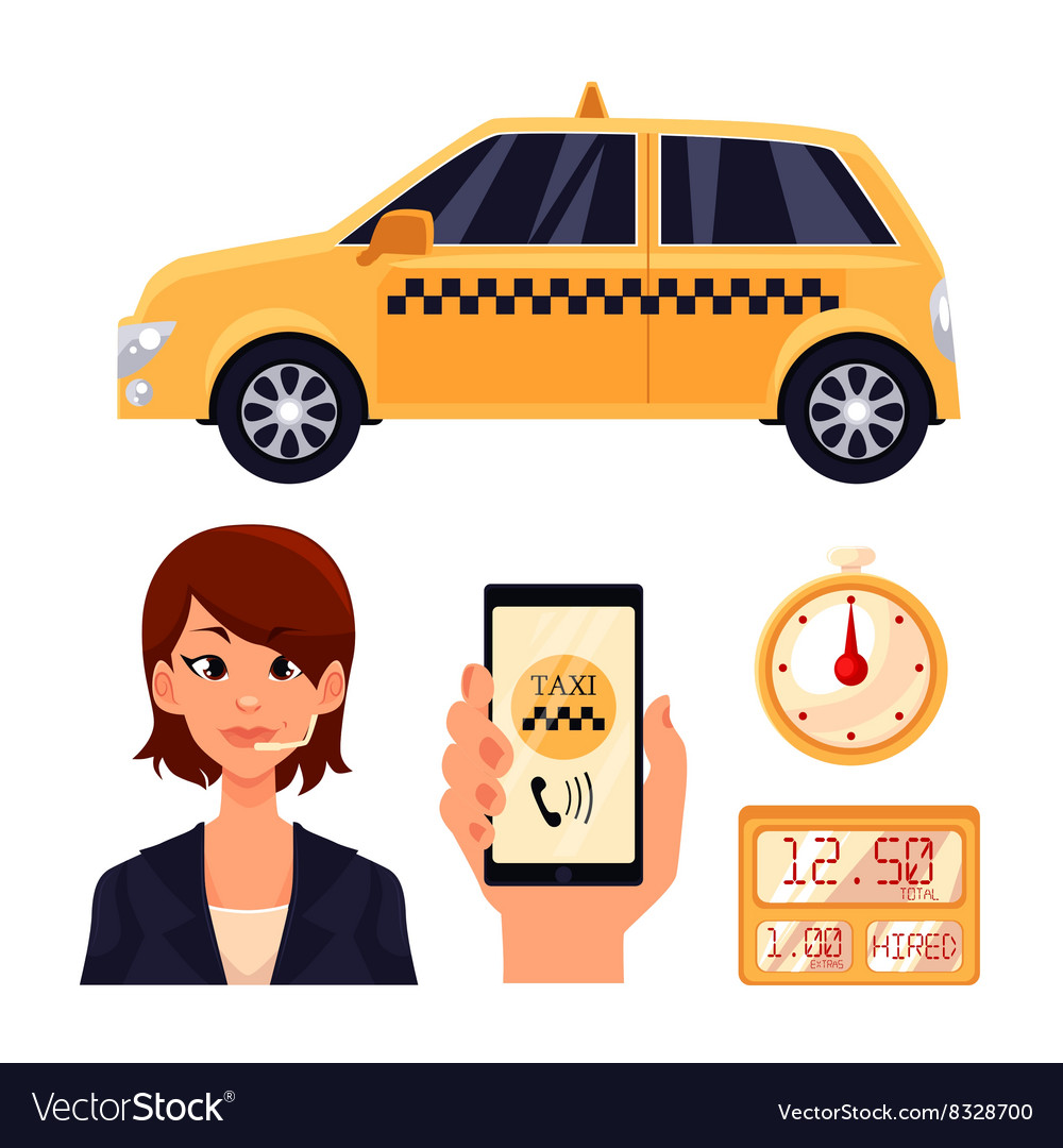 Icon set with the service taxi dispatcher and