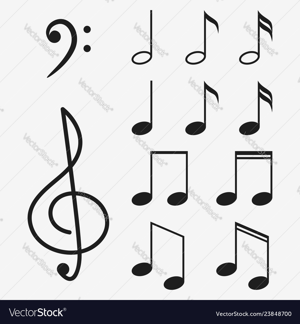 Music notes icon set and musical key