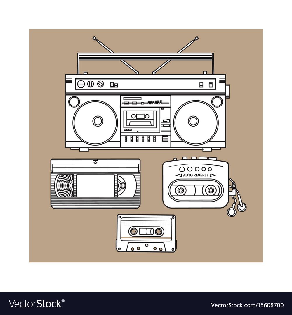Retro audio cassette tape recorder music player