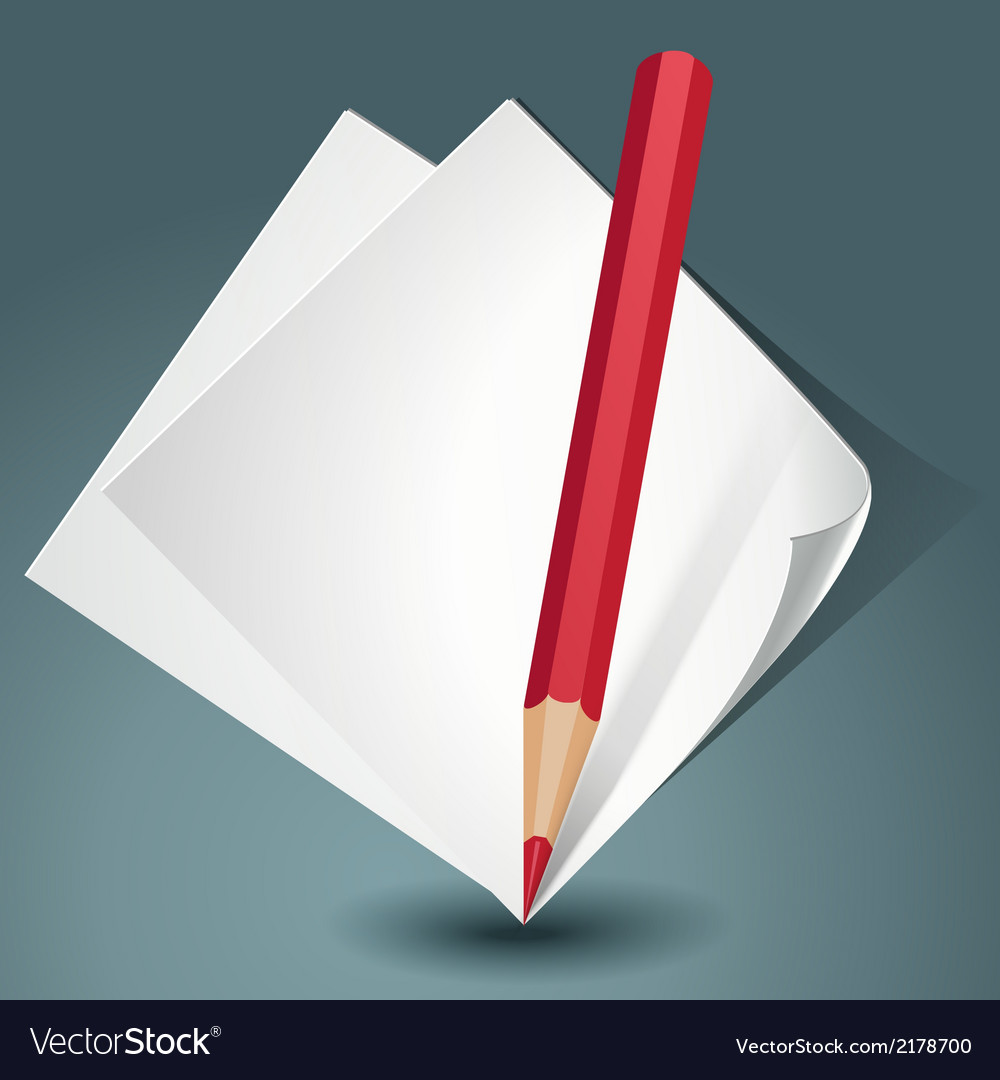 White paper with a red pencil