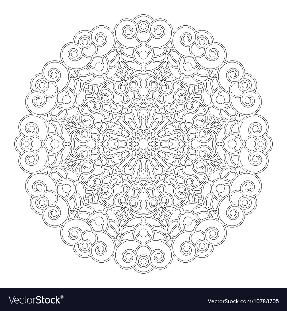 Adult Coloring Book Spiral Mandala Black And White