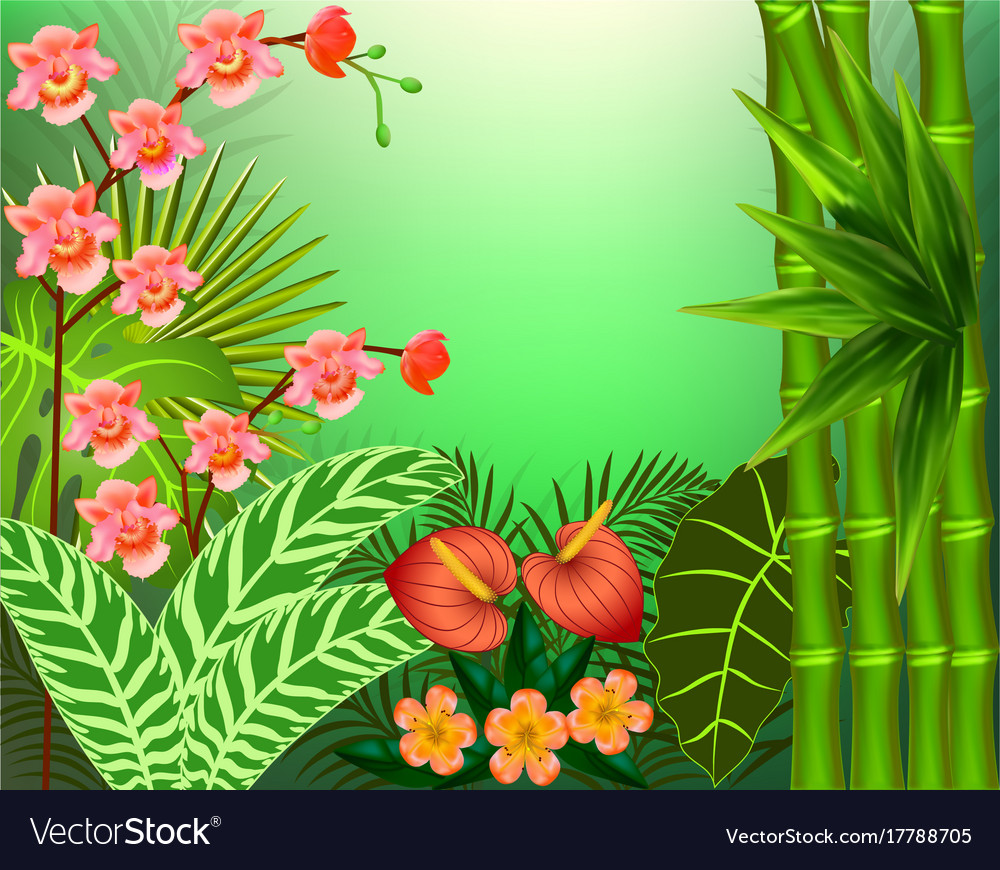 Background with tropical leaves and flowers