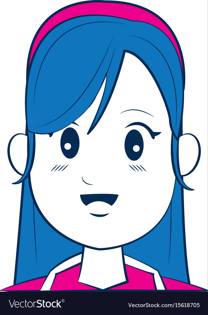 Cartoon woman face smiling with blue hair