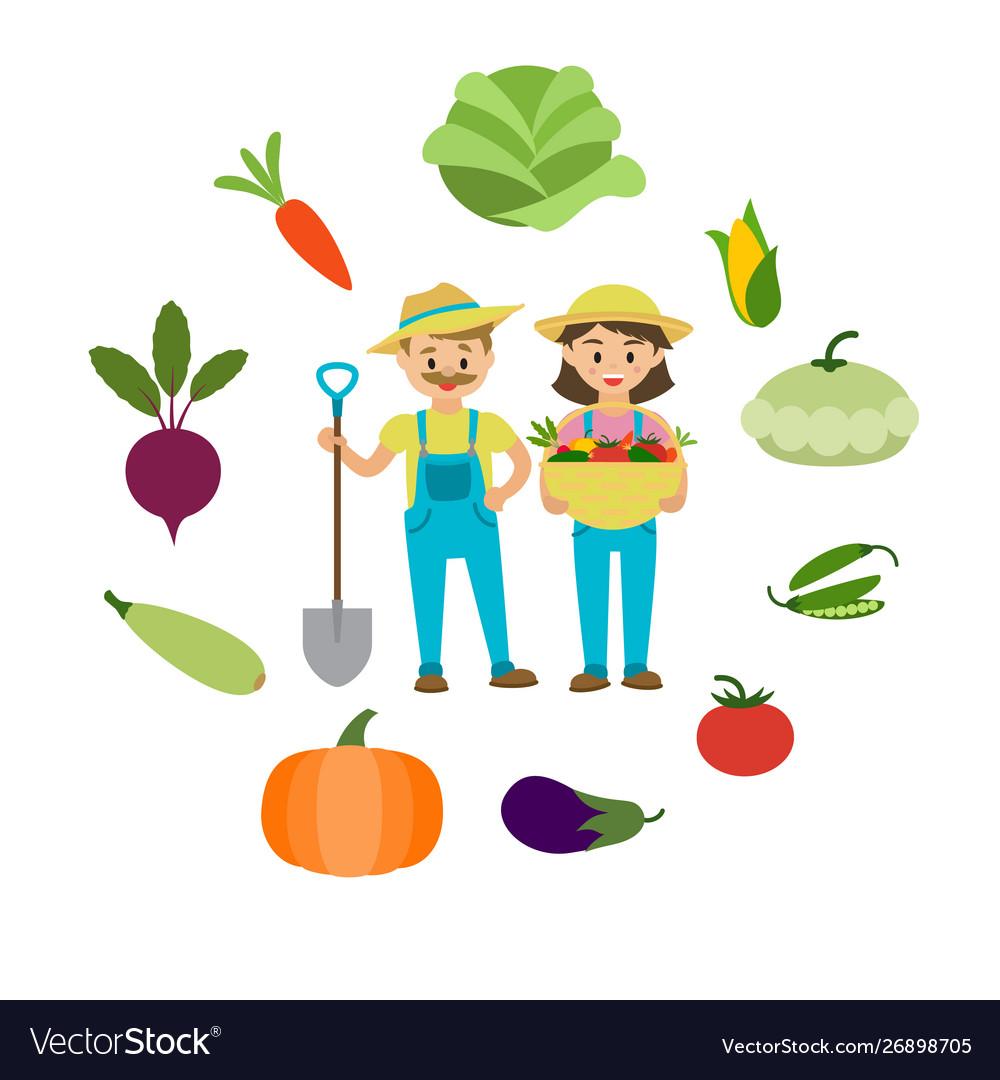 Farm vegetables and farmers family