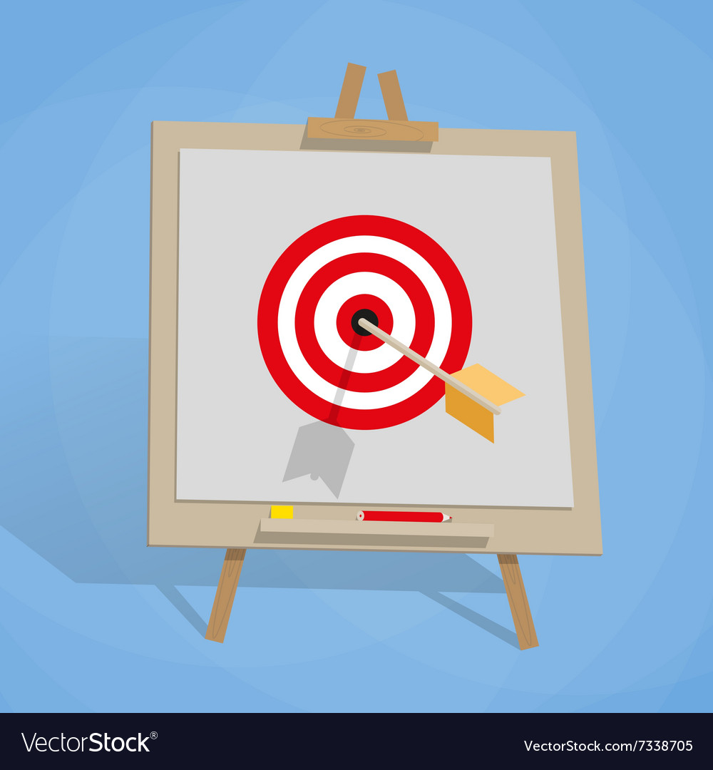 Flip chart with target and arrow
