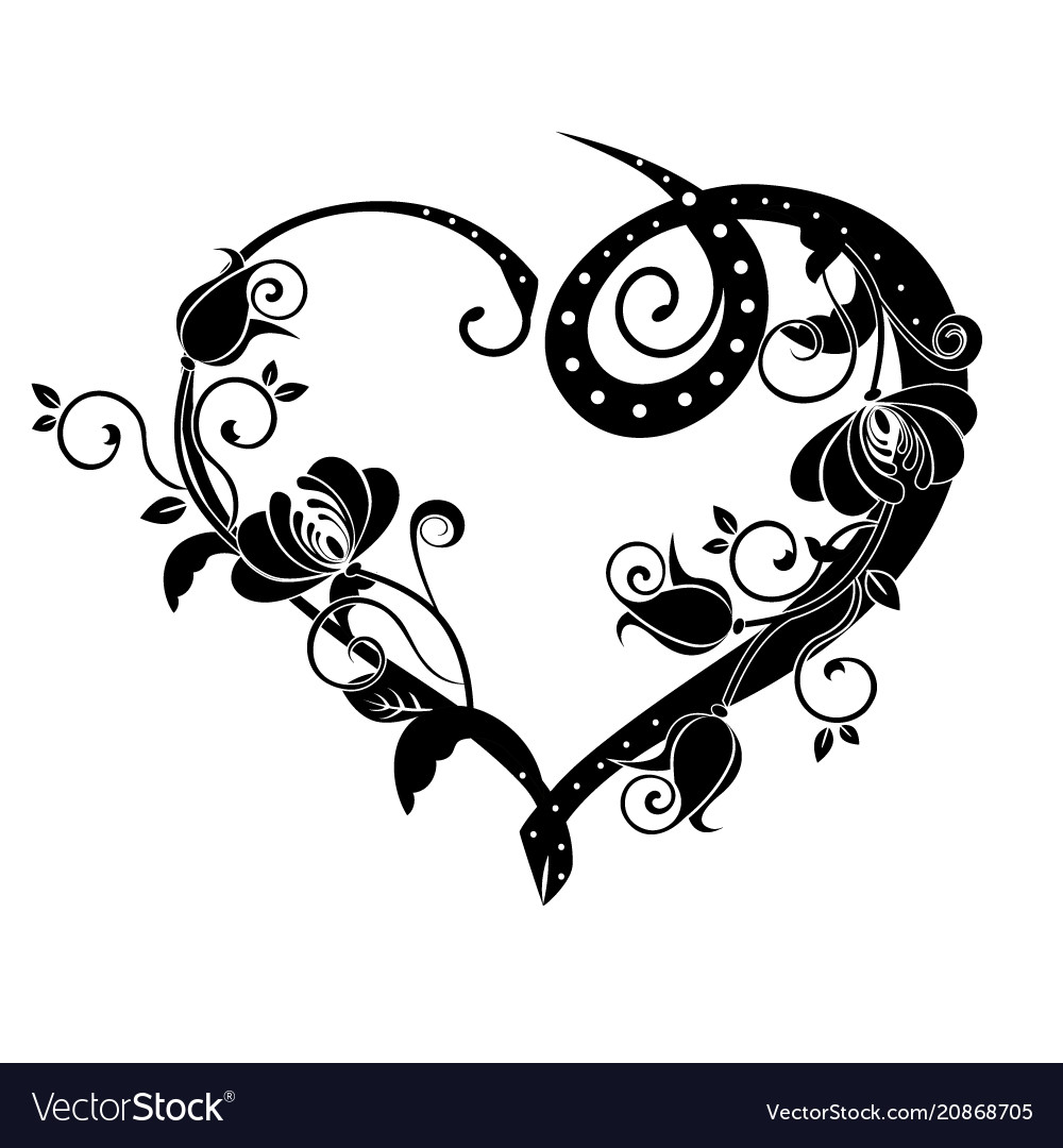 Heart with flourishes black vector image