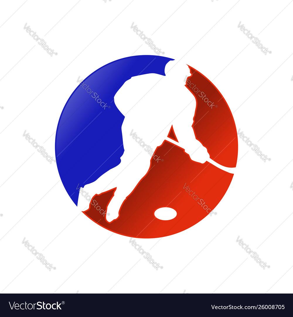 Hockey player dribbling attack forward design
