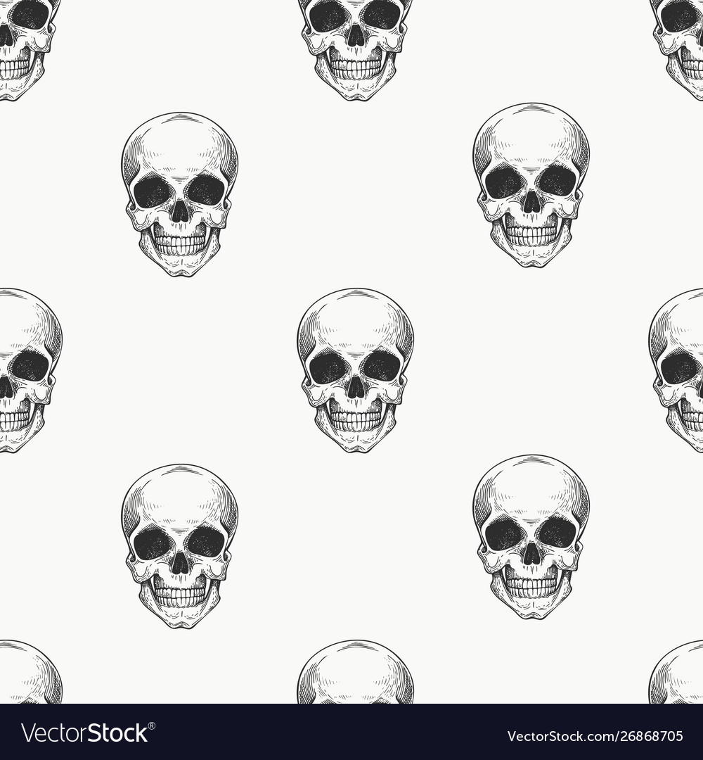 Human scull seamless pattern hand drawn skeleton