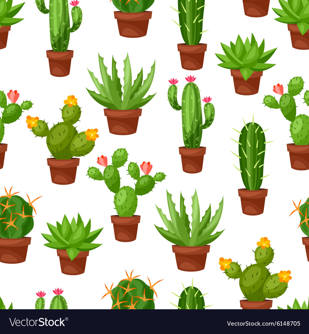 Seamless pattern of abstract cactuses in flower