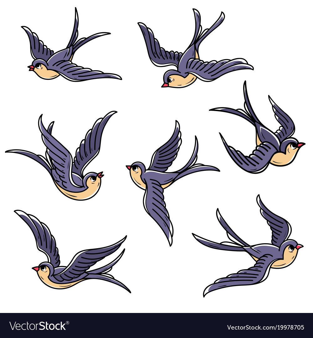 Set of flying swallows free birdssymbol of luck