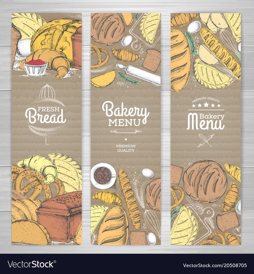 Set of retro bakery banners on cardboard bakery