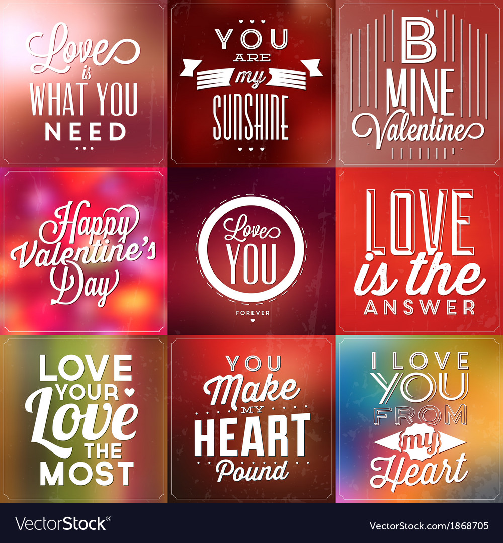 Set Of Typographic Valentines Day Backgrounds