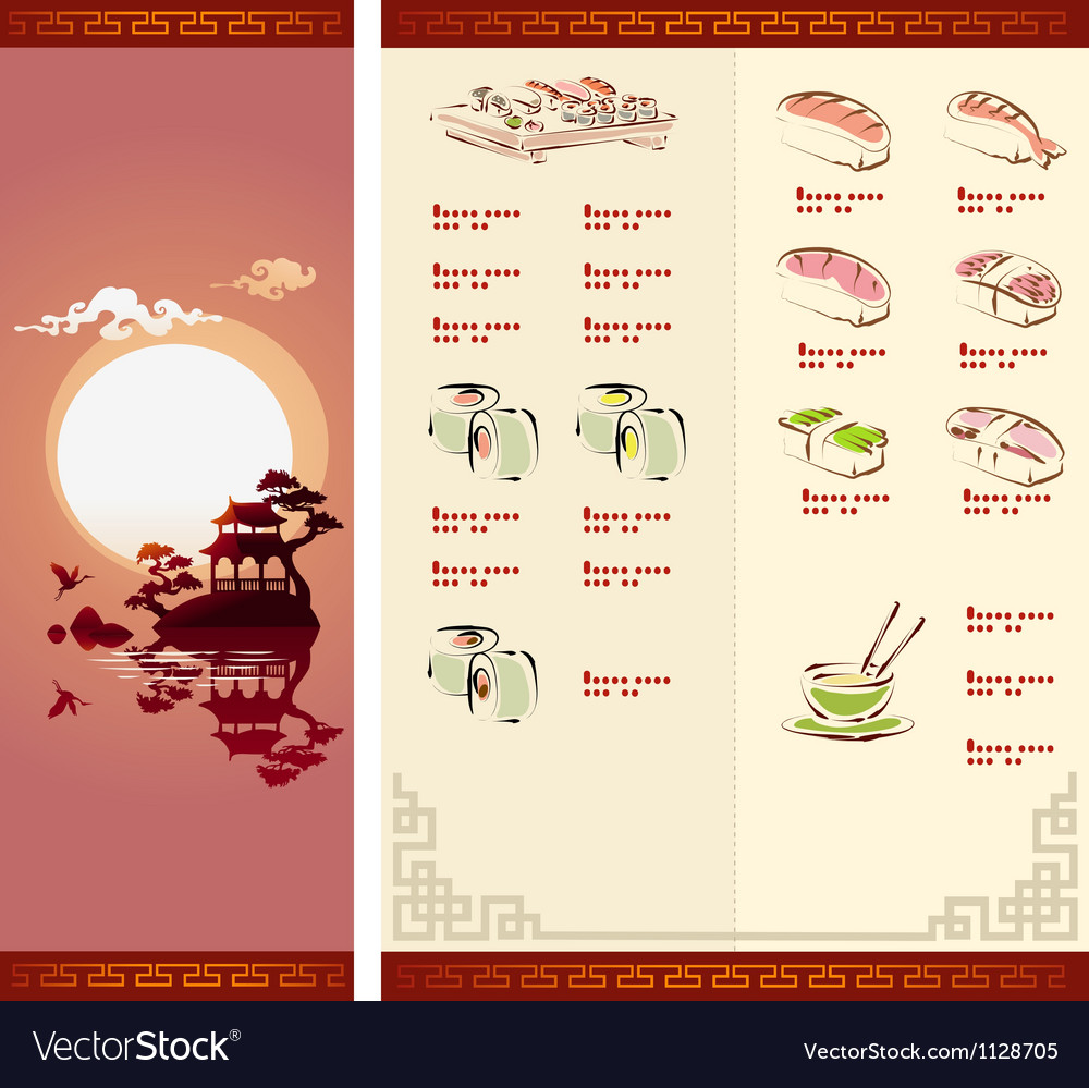 Template Design of Sushi Menu vector image
