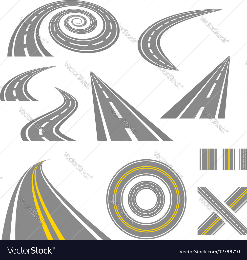 Asphalt curved roads vector image