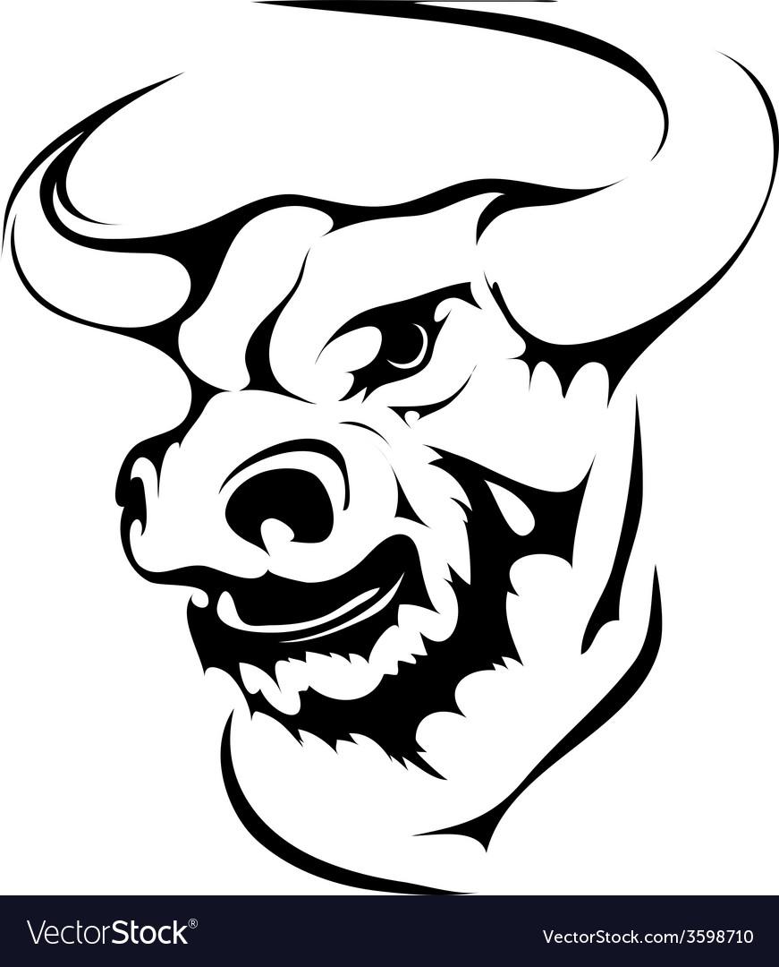 Bull head in black interpretation