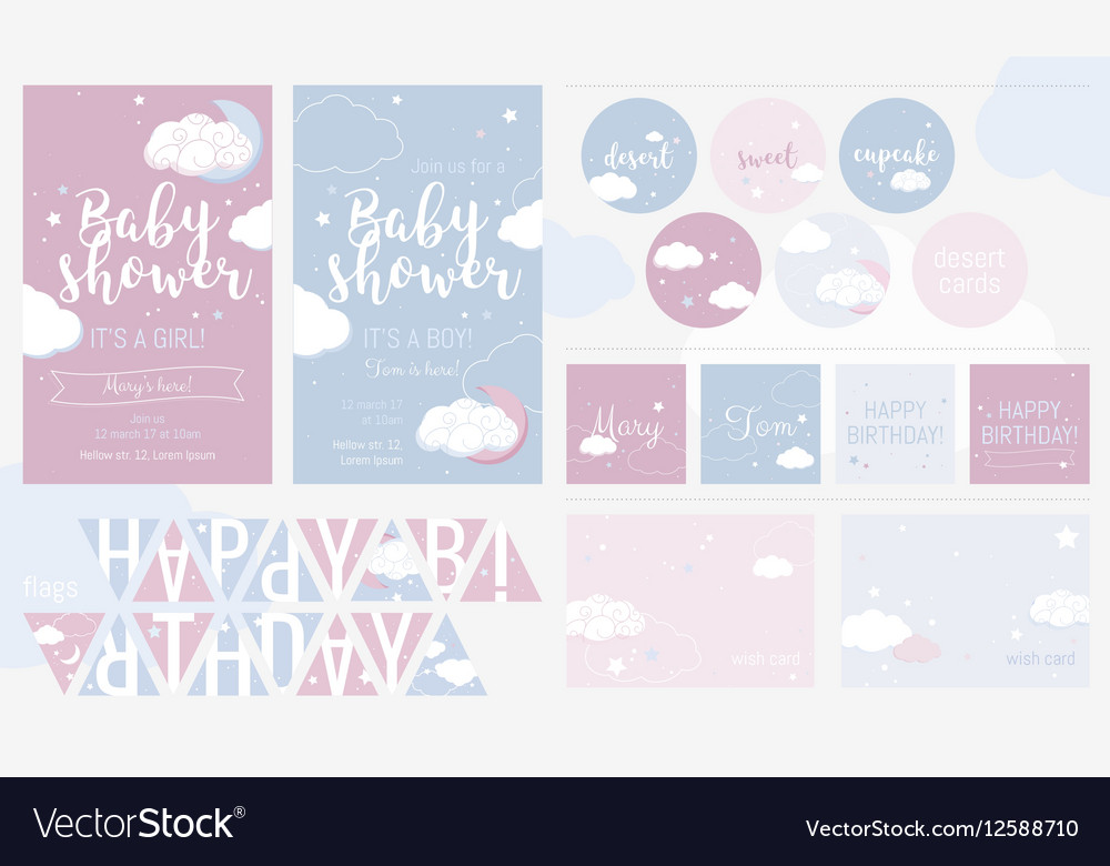Cute invitation cards for baby shower and birthday