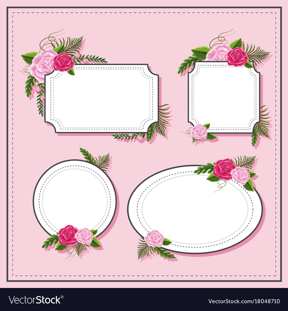 Different frame design with pink roses Royalty Free Vector