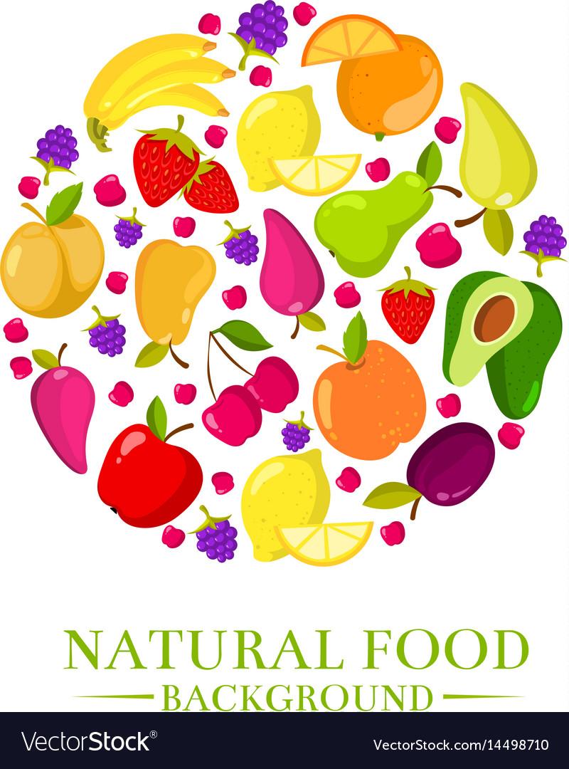 Fresh organic cartoon fruits icons design