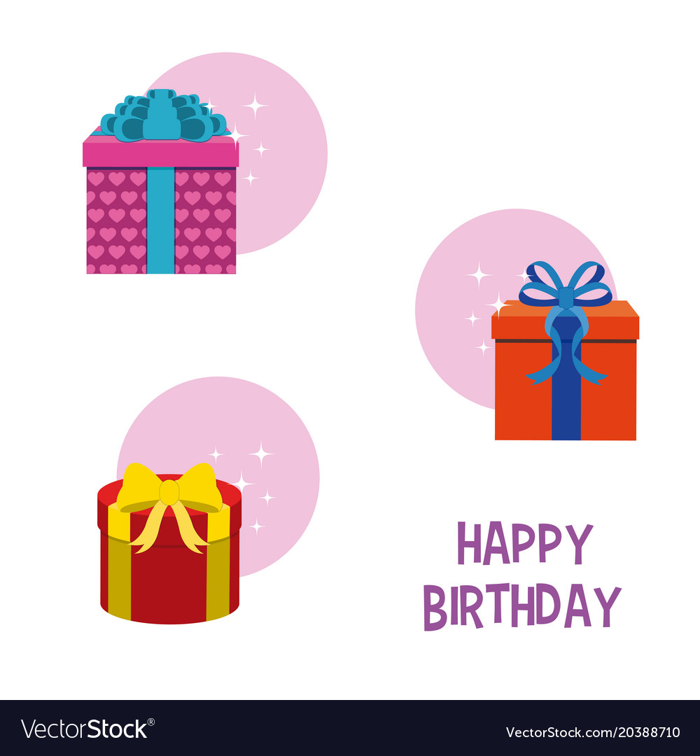 Happy Birthday Gift Boxes Royalty Free Vector Image