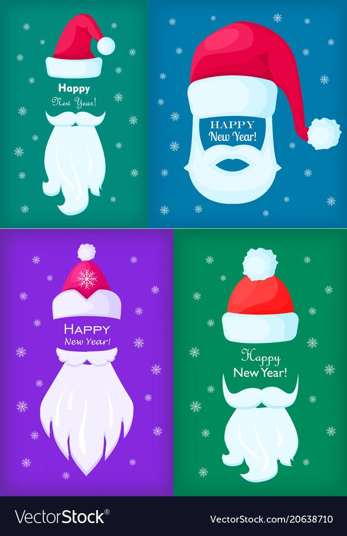 Happy new year santa claus caps and white beards