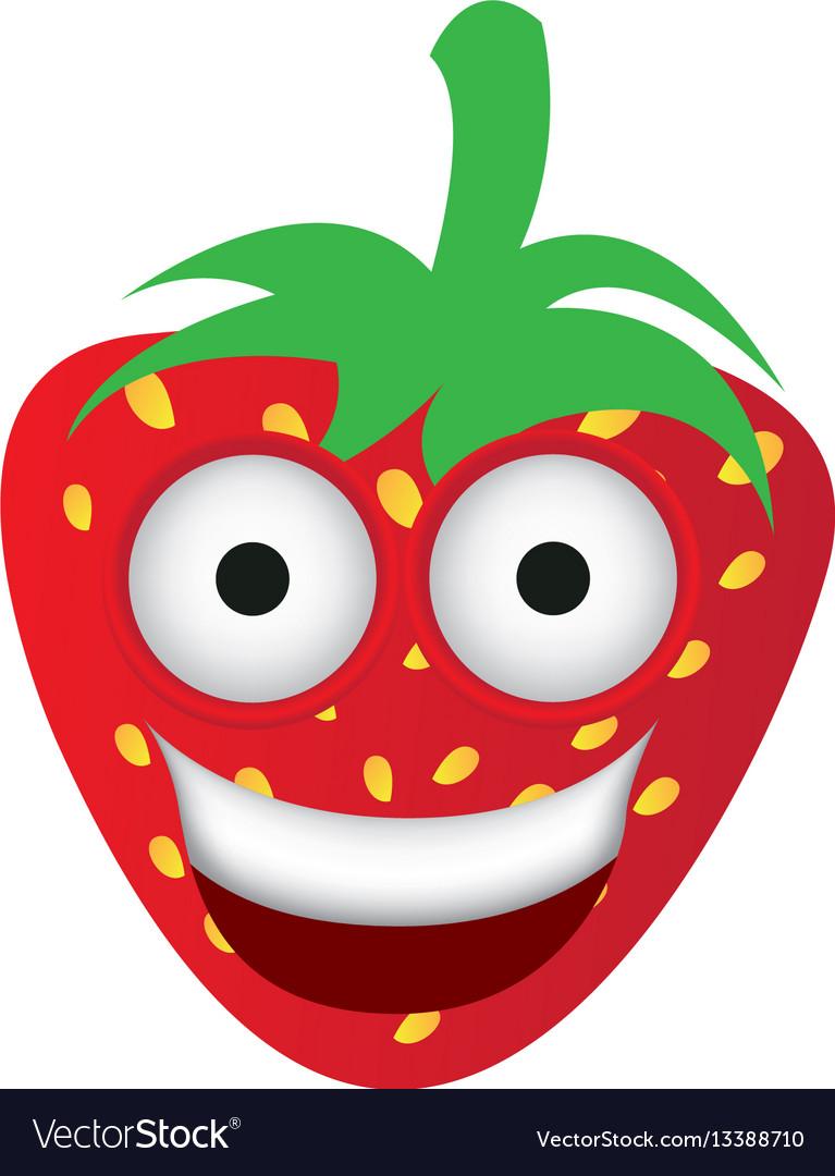 Kawaii fruits strawberry happy icon