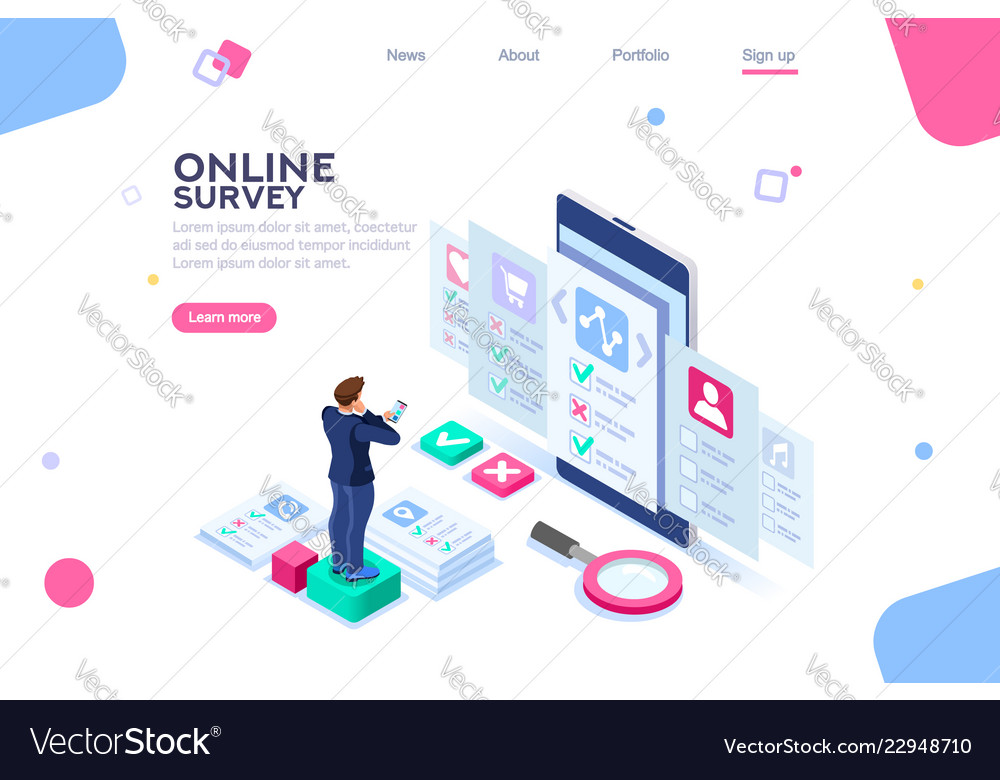 online survey template royalty free vector image