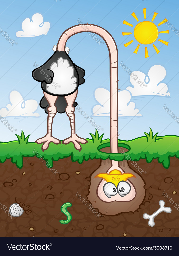 Ostrich Head In The Ground Cartoon Character