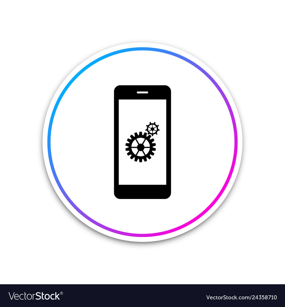 Setting on smartphone screen icon isolated