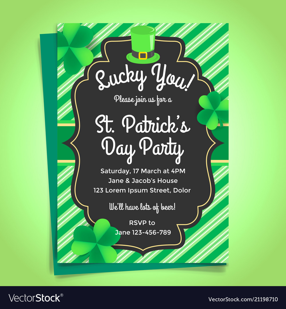 St patricks day invitation with shamrock and hat