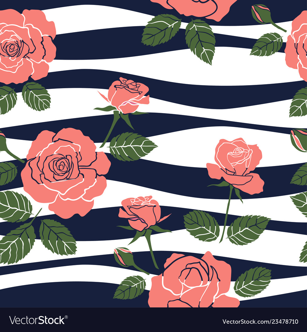 Sweet roses seamless pattern on wavy background