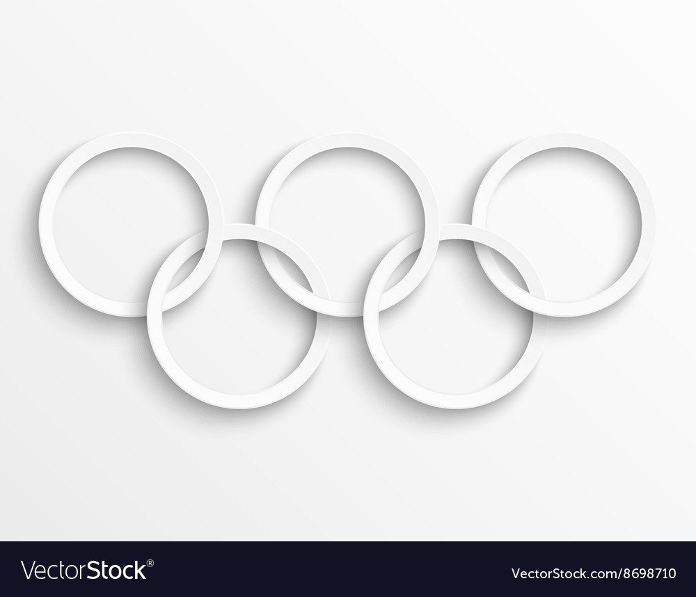 White circles background rings with drop shadow vector image