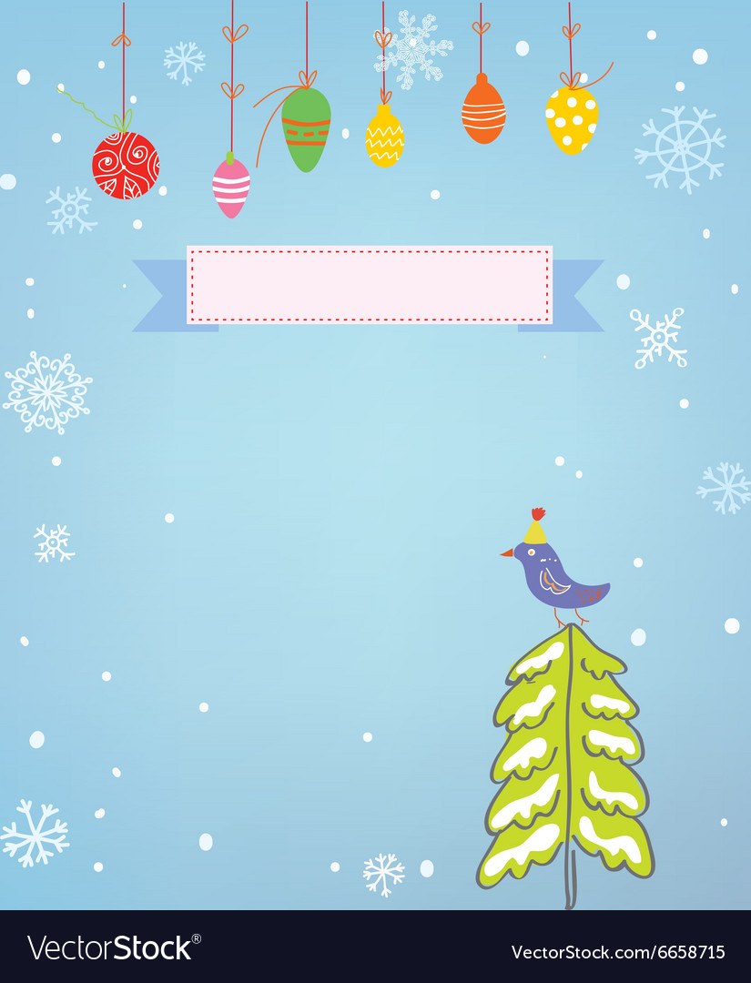 Christmas background with frame snow tree and bird