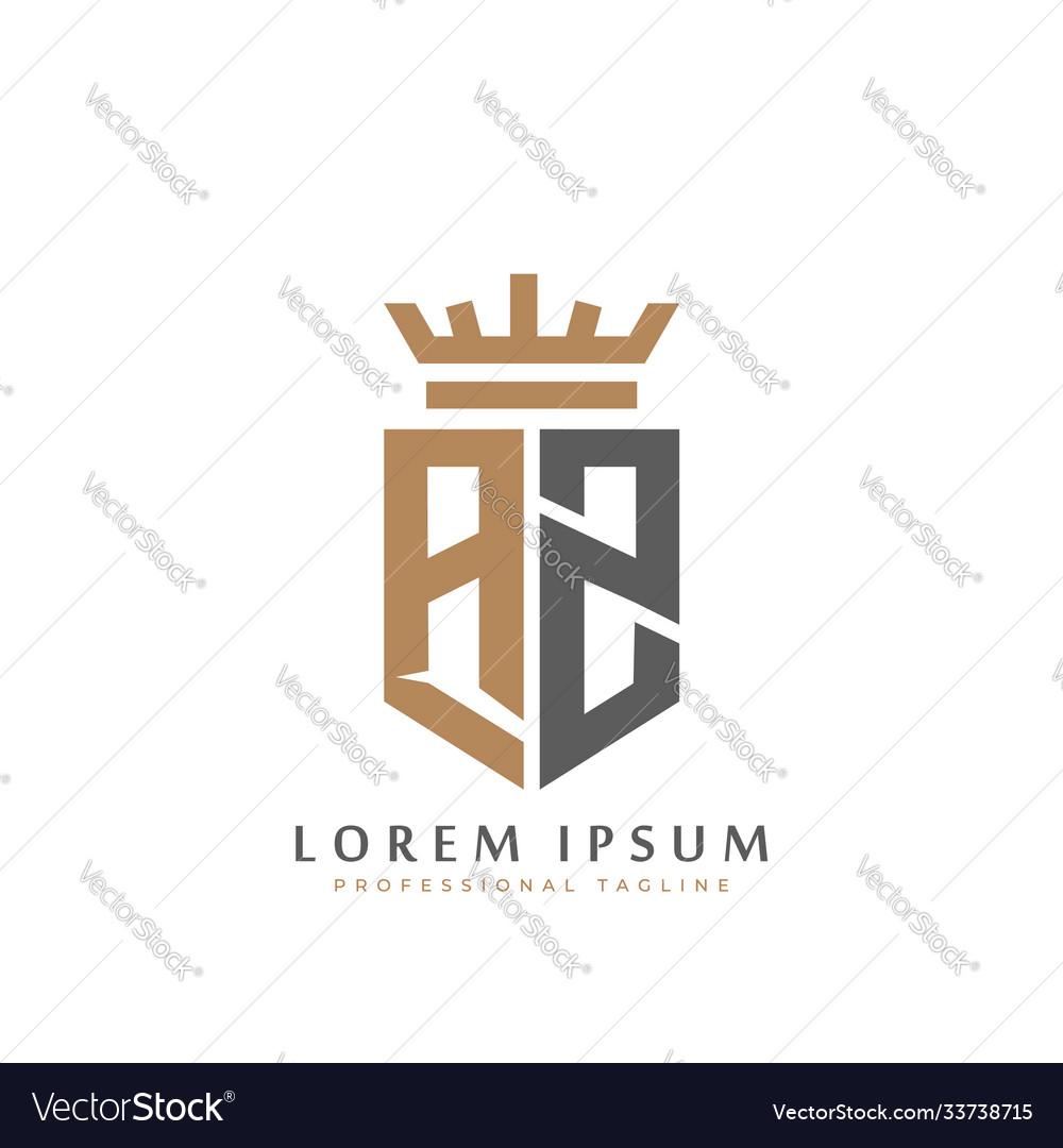 Elegant wordmark az initial shield crown logo