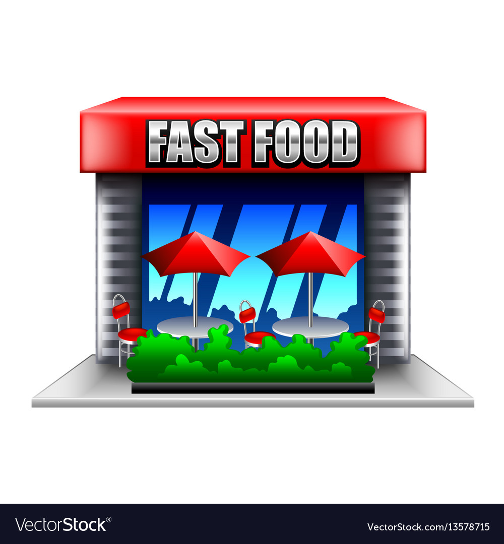 Fast food restaurant isolated on white