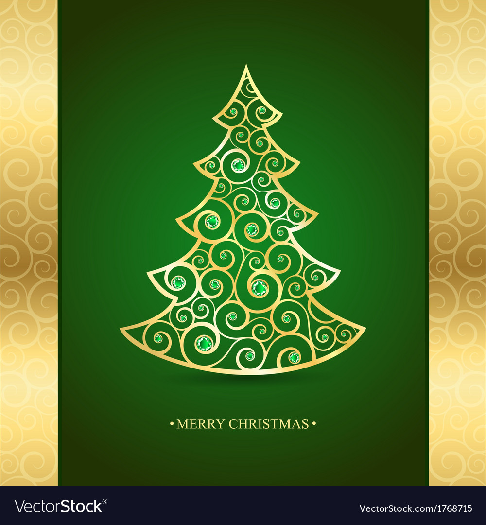 Gold Christmas Tree On A Green Background