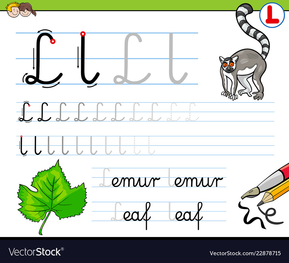 How to write letter l workbook for children Vector Image