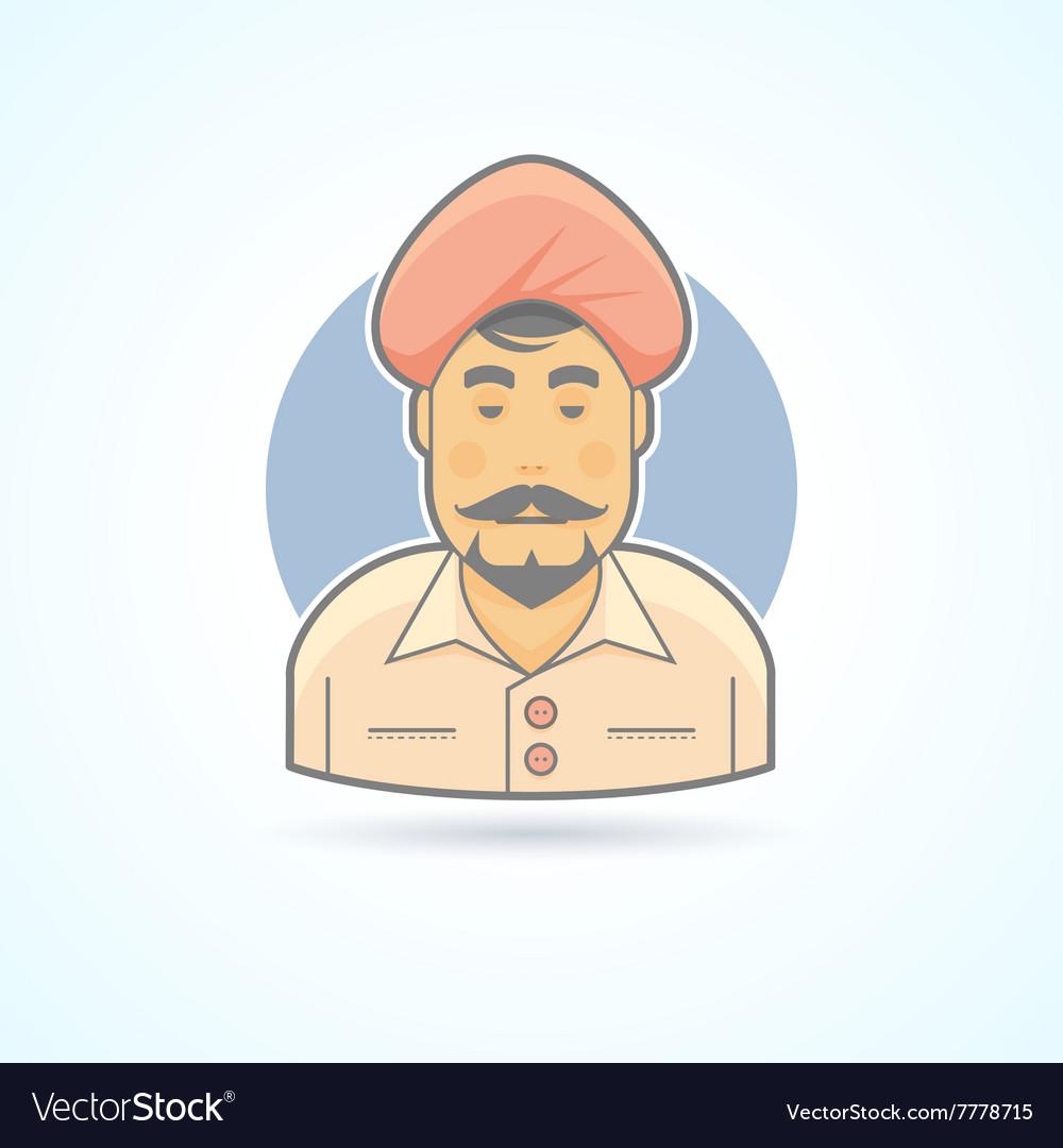 Indian Hindustani man in traditional turban icon