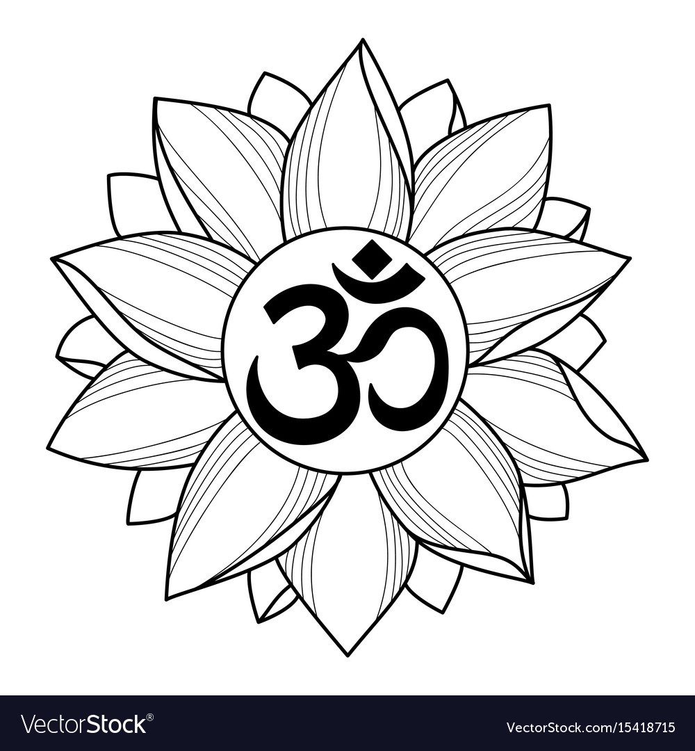 Om And Lotus Tattoo Royalty Free Vector Image Vectorstock