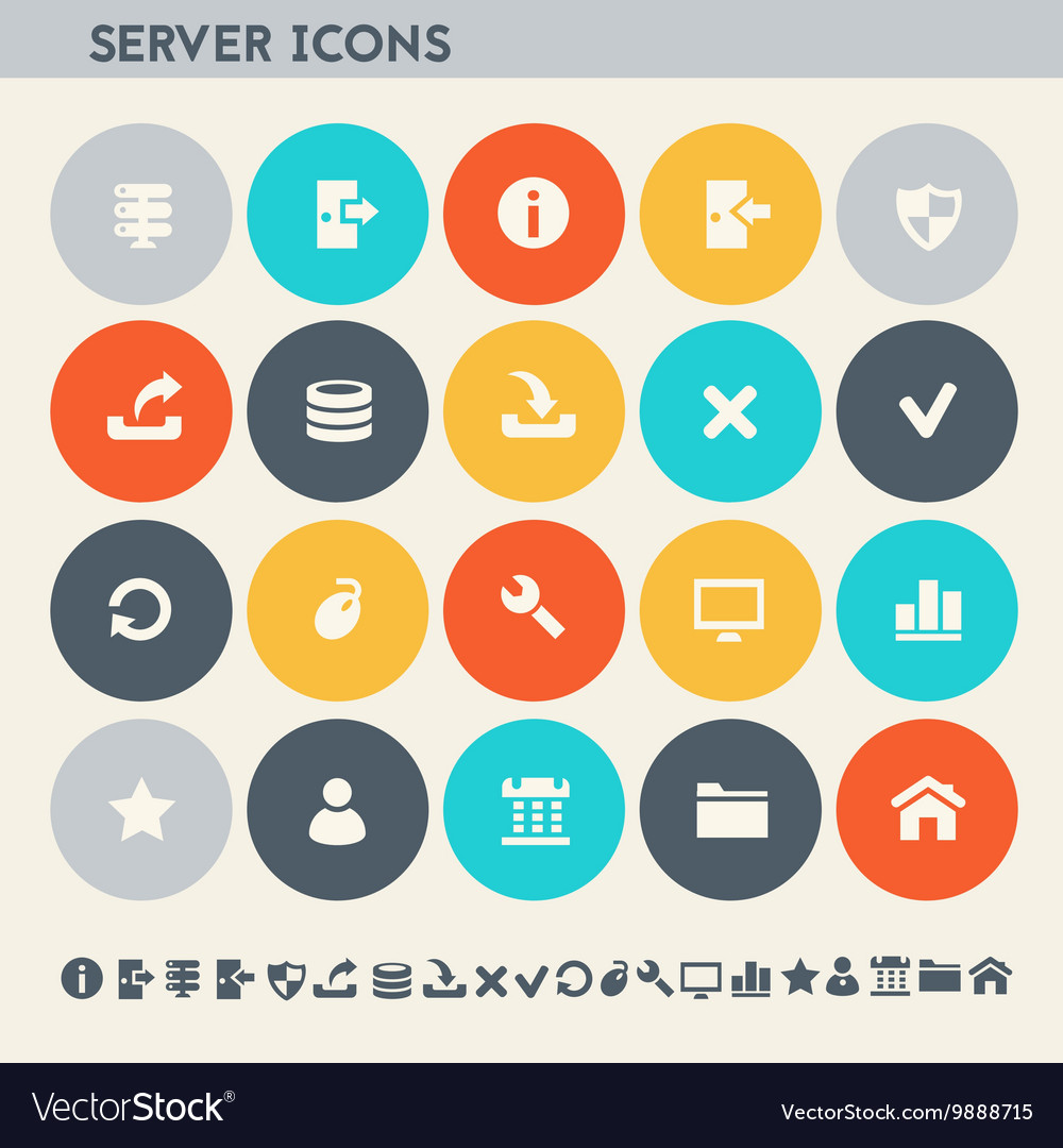 Server icon set Multicolored flat buttons