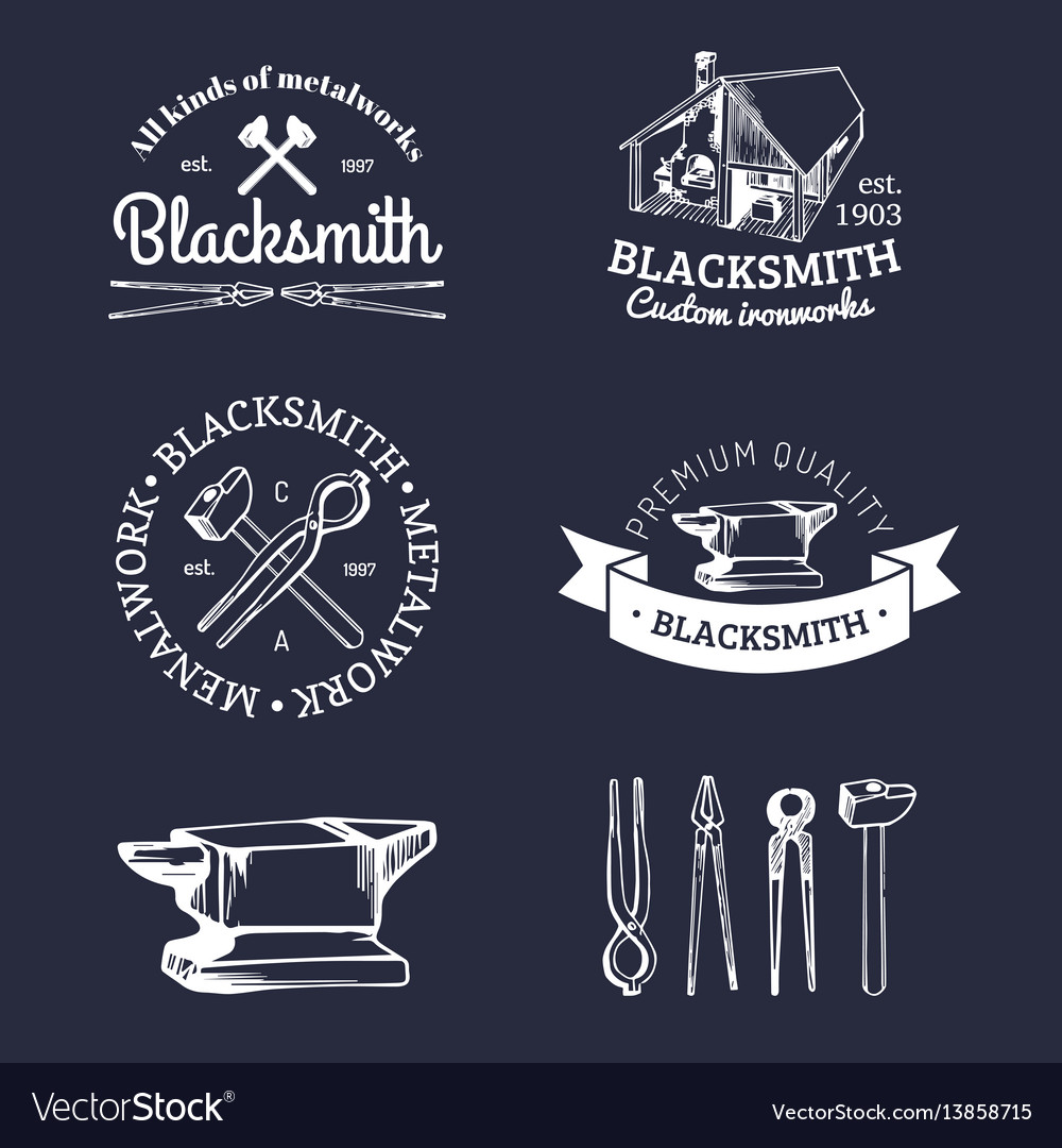 Set of hand sketched blacksmith logos