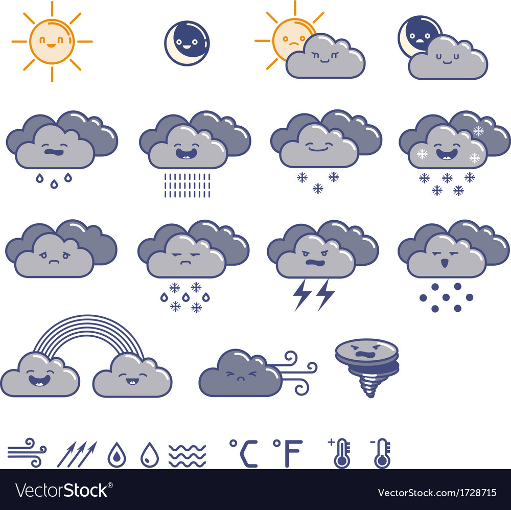 Set of weather grey icons
