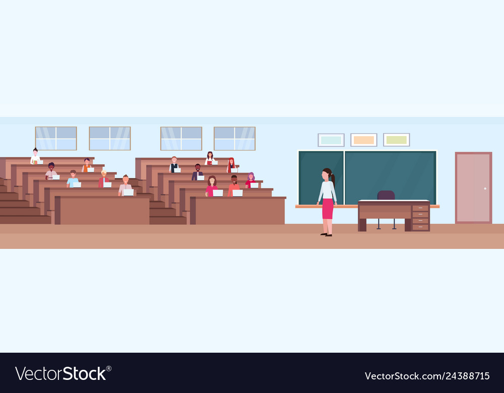 Students sitting at desks and listening teacher in