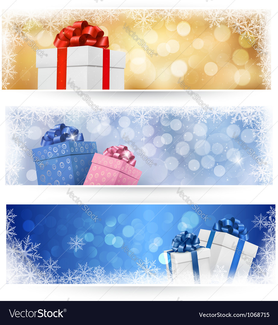 Three christmas banners with gift boxes vector image