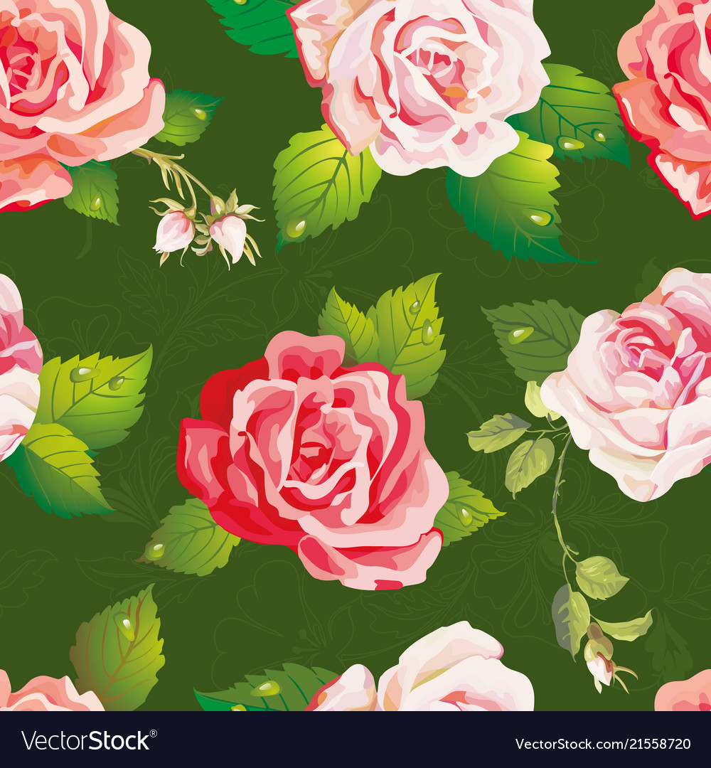 Beautiful seamless pattern on floral background