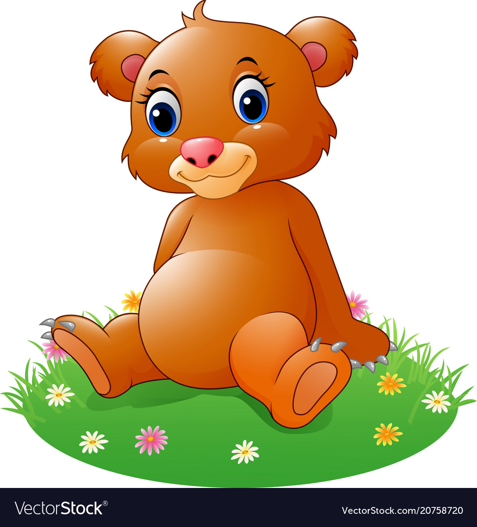 Cartoon Baby Brown Bear Sitting Royalty Free Vector Image