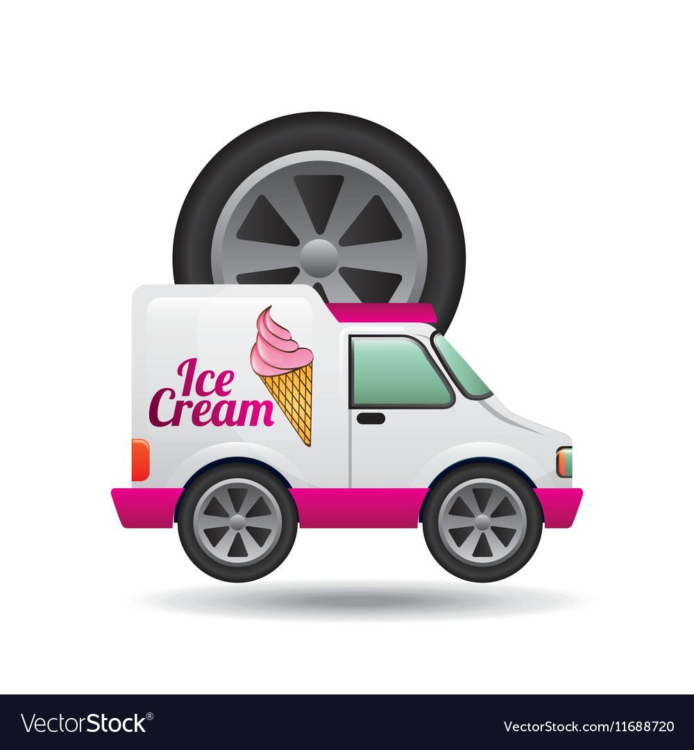 Icecream truck and wheel icon design vector image