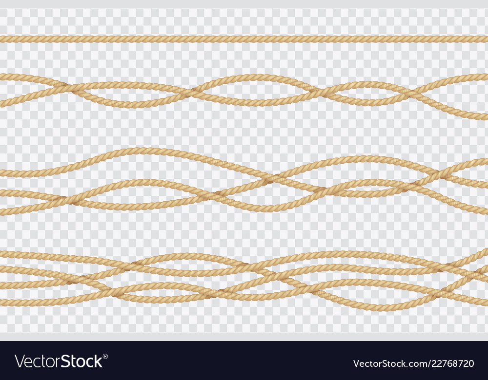 Realistic rope set nautical textured cords close