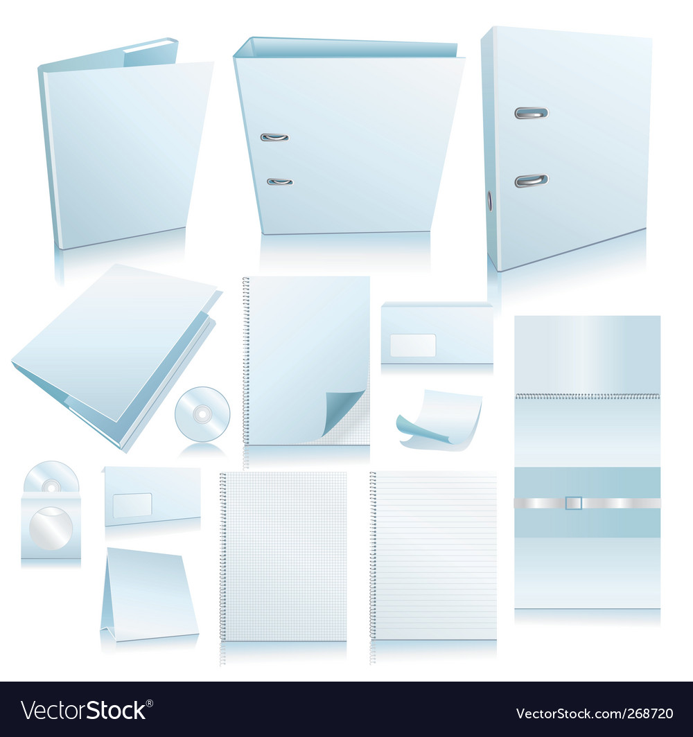 Set of office elements realis vector image