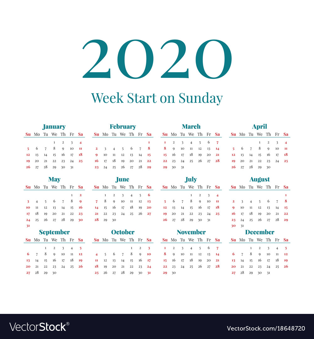 Calendar 2020 Vector Simple 2020 year calendar Royalty Free Vector Image